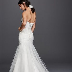 Strapless Ruched Mermaid Tulle Wedding Dress
